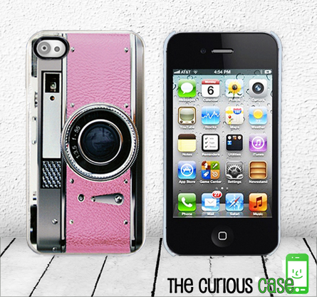 Retro Pink Camera iPhone Hard Case - Fits iPhone 4 and iPhone 4S - White Trim