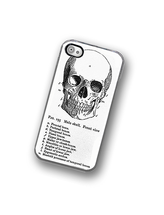 Medical Skull Diagram iPhone Hard Case, Fits iPhone 4 and iPhone 4s - Clear/Black Trim