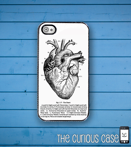 Heart Diagram Medical Chart iPhone Hard Case, Fits iPhone 4 and iPhone 4s - Black trim