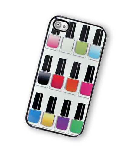 Nail Polish Rainbow iPhone Hard Case, fits iPhone 4 and iPhone 4S - Black Trim