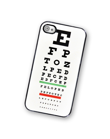 Eye Chart iPhone Hard case, Fits iPhone 4 and iPhone 4S - Black Trim
