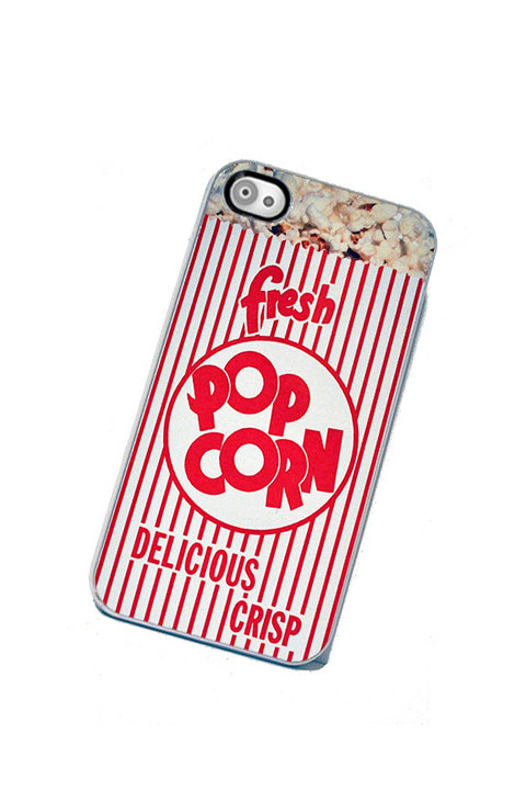 Movie Popcorn iPhone case, fits iPhone 4 and iPhone 4S - White Trim