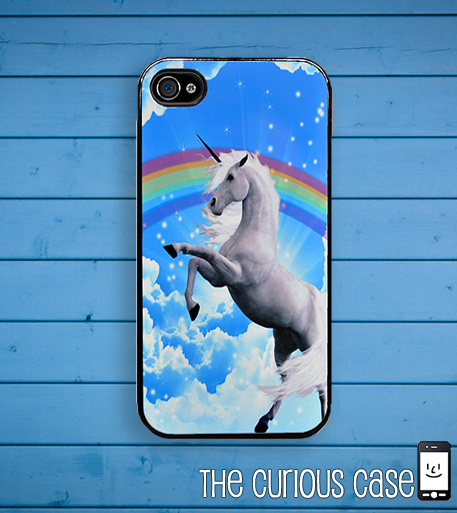 Unicorn Rainbow iPhone Case, fits iPhone 4 and iPhone 4S -Black Trim